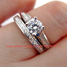 Real Solid Silver 18k White Gold Finish Lab Diamond Engagement Wedding Ring Set