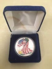 Yr 2000 Painted Walking Liberty American Eagle One Dollar Silver Coin :