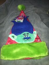 "Dreamworks Troll Santa Hat 17"" CHRISTMAS NEW 2016 Blue Hair Green faux fur trim"