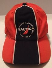 Orange And Navy Nautica Sailing Cap Hat Kids Size 14-16 Strap