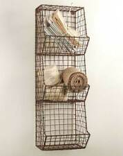 Country Farmhouse WIRE GENERAL STORE WALL BASKET Rack Vintage Looking Rusted Brn