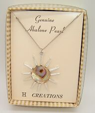 NOS VTG Hoffman H Creations Sun starburst Abalone Pearl Necklace Mod boho