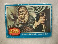 Vintage Star Wars Series 1 (Blue) Trading Card # 44 Han and Chewie Shoot It Out