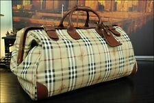 "21"" Burberry London Authentic Large Duffle Gladstone Travel Doctor Bag Mens"