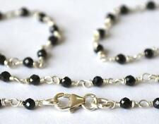 "SOLID 925 STERLING SILVER NECKLACE 2.5 MM  18"" - FINE BLACK SPINEL BEADS  #2596"
