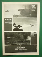 6/1979 PUB EUROMISSILE MISSILE ANTI CHAR HOT ROLAND MILAN ORIGINAL FRENCH AD