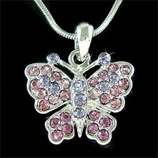w Swarovski Crystal Purple BUTTERFLY Pendant Bridal Wedding Charm Chain Necklace