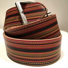 BNWT Paul Smith PS SIGNATURE STRIPE LEATHER METAL BUCKLE BELT SZ 28 RRP129 GIFT