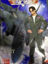 Mens 1980's Top Gun Fancy Dress Fighter Pilot / Aviator Costume Large