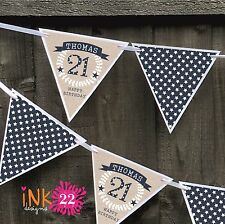 Personalised 18th, 30th, 60th Birthday Party Decoration Banner Bunting Sign Male