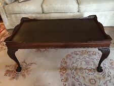 Antique Chippendale Mahogany Coffee Table with Ball and Claw Feet