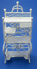 Vintage White Metal Wicker Baker's Rack Shelf Dollhouse Miniature