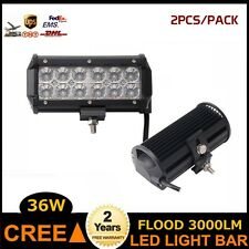 2X 36W Cree LED Light Bar Flood  Beam Offroad Vehicles For 4WD Track Boat SUV US