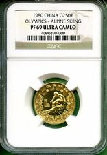 CHINA  1980  OLYMPICS  GOLD 250 YUAN  NGC PF 69 ULTRA CAMEO  ALPINE-SKIING