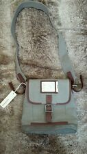 Diesel Messenger Bag NEW Canvas Leather Army Green Grey NWT