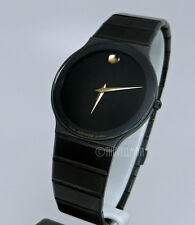 Mens Swiss Authentic Movado Black Sapphire PVD Ion Thin Small Dial Retro Watch
