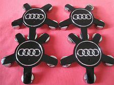 4x ALLOY WHEEL BADGES CENTER CAPS 4F0601165N AUDI A4 A5 A6 Q5 Q7 TT 5 star BLACK