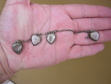 ANTIQUE VINTAGE STERLING SILVER PUFFY HEART BRACELET W 4 CHARMS