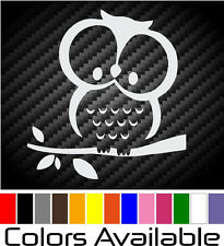 Cute Owl In Tree Vinyl Decal Car Window Funny Bumper Sticker