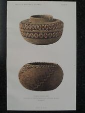 Tulare Indian Coiled Jars Basketry California 1902 Original Print