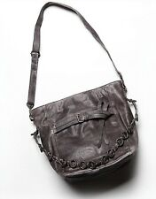 Free People Enfield Leather Hobo Bag Grey Black Metal Chain Detail Large