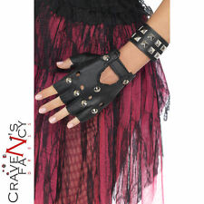 1980s Punk Studded Black PVC Wristband 80's Rock Ladies Fancy Dress