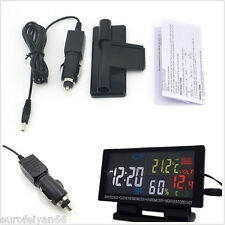 12V In-Car Digital Voltmeter Clock Thermometer Weather Forecast LCD Display Kit
