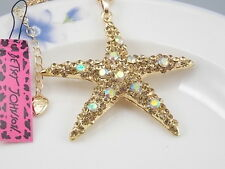 Betsey Johnson Fashion Jewelry Cute Yellow Crystal starfish Pendant Necklace