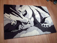 RUG- Black and White with Gray Custom KITTEN/ CAT Rug Wool Hand Made