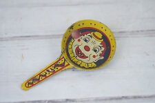 VINTAGE TIN LITHO METAL CLOWN NOISEMAKER CLAPPER FREE SHIPPING