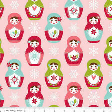 TWO YARDS-Merry Matryoshka Main Nesting Doll Snow Riley Blake Fabric C4380-Pink
