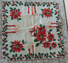 Vintage Christmas Print Candles Holly  Handkerchief