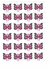 24 Breast Cancer Pink butterflies cake toppers decorations edible approx 4cm