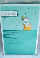 HTF HALLMARK PEANUTS SNOOPY IN GIFT BOX BIRTHDAY CARD FOIL ACCENTS TEAL BLUE