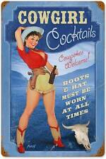 Cowgirl Cocktails Pin Up Girl Vintage Distressed Metal Sign Wall Decor BVL003