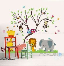 Safari Zoo Animals Giraffe Monkey Owl Lion Wall Stickers Nursery Decor Art Mural
