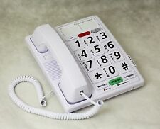 Big Button Corded Speaker Phone Amplified Hearing Impaired White