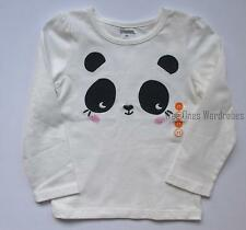 Gymboree Happy Bluebird Girls 2T White Panda Face Tee Shirt Top NEW NWT