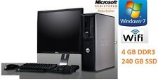 "Fast Dell Desktop Pc Tower 3 Ghz E8400 NEW SSD 240 GB 4GB Ddr3 19""  Wi-Fi"