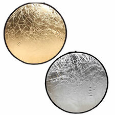 "New Photo Studio Reflector Gold /Silver 2In1 Multi Collapsible Disc 24"" Diameter"