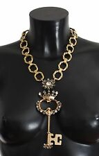 NEW DOLCE & GABBANA Necklace Gold Brass Crystal Sacred Crown Key Pendant Chain