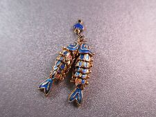 Cloisonne Articulated Double Wiggle Fish Charm Pendant Blue 1pc