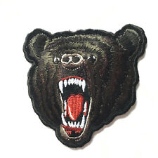 Embroidered  Black Grizzly Bear Iron on Sew on Biker Patch Badge