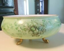 """Antique William Guerin WG & Co Hand Painted Limoges France Footed  Bowl 8 """" Wide"""