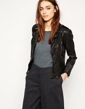 New Muubaa Kosi Fitted Leather Biker Jacket in Black Sz 8 uk rrp £350