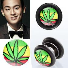 Fake Illusion Piercing Magnetic Cheaters Leaf Flag Ear Pair Earrings Gauge Plugs