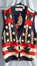 Womens BELLEPOINTE SWEATER VEST Red White Blue STARS AND STRIPES USA AMERICA M