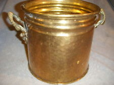 VINTAGE HAMMERED BRASS PLANTER/BUCKET W/2 HANDLES WITH LIONS HEADS