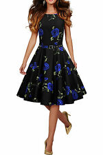 138 NEW AUDERY BLUE FLORAL ROCKABILLY SWING WEDDING PARTY PROM DRESS SIZE 16 BN