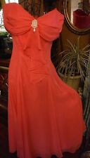 Vintage Women's Salmon/Pink Evening, prom,bridesmaid Gown with Pearls
